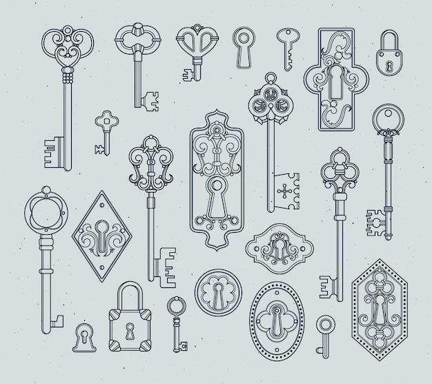 Vintage schlüssel und vorhängeschlösser für mittelalterliche türen. hand gezeichnete vektorabbildungen.