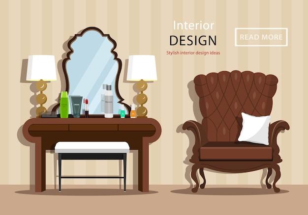 Vintage schminktisch mit spiegel und kosmetik für eine frau, einen kleinen stuhl und einen sessel im hausinnenraum. flache artillustration