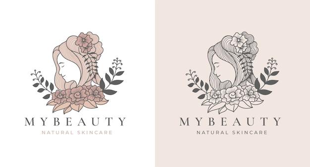 Vintage schönheitsblumenfrauenlogodesign