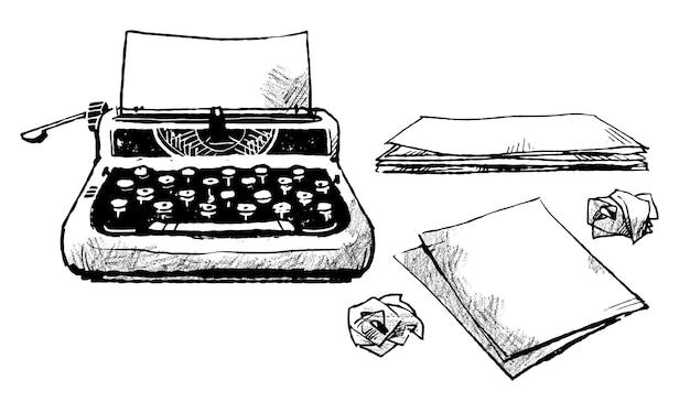 Vintage-schreibmaschine und papierstücke illustration