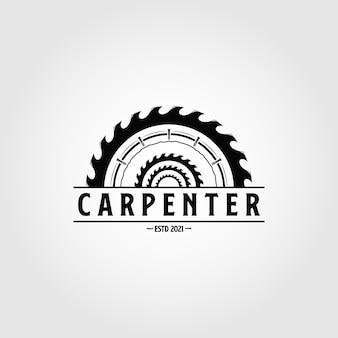 Vintage schreinerei logo vektor design holzarbeiten emblem symbol illustration design