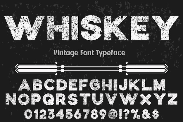 Vintage schrift alphabetischen stil whisky