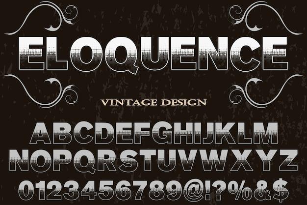 Vintage schrift label design beredsamkeit