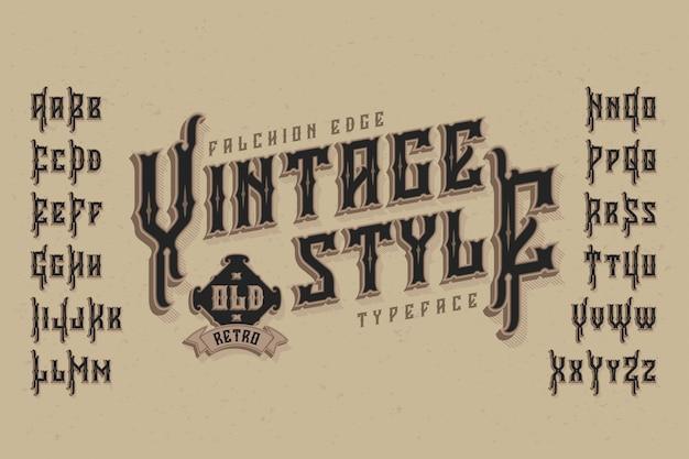 Vintage schrift mit extrudiertem effekt