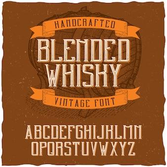 Vintage schrift namens blended whisky