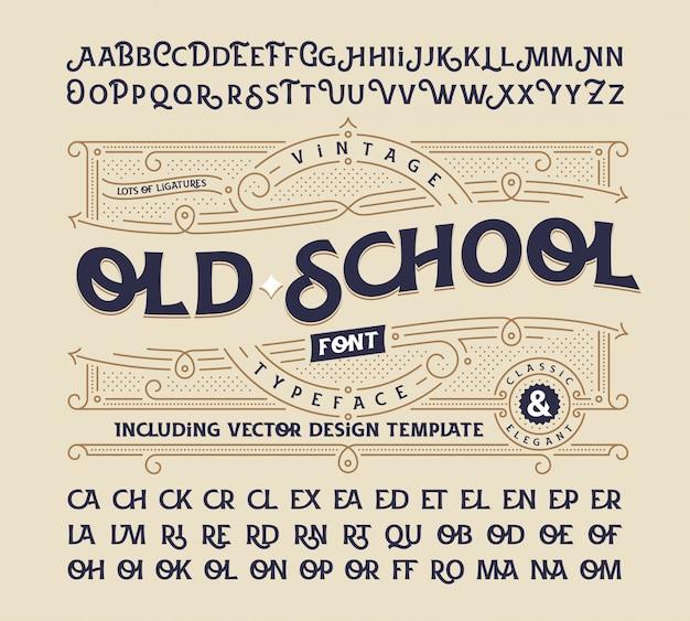 Vintage schriftart eingestellt mit dekorativer verzierung