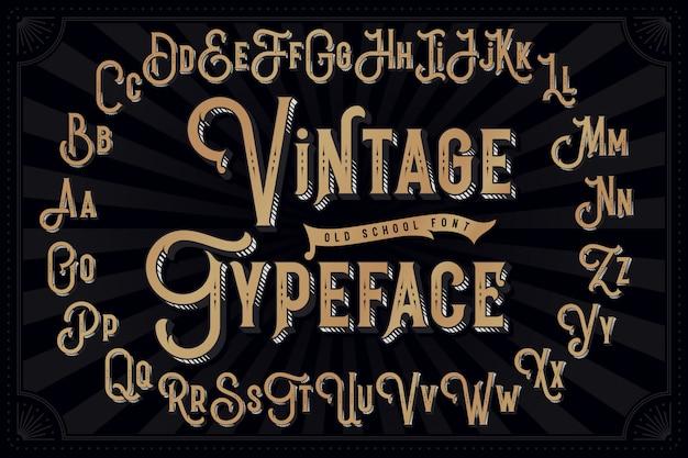 Vintage schriftart mit dekorativem extrudiertem effekt