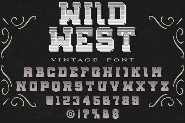 Vintage schriftzug grafikstil wilder westen