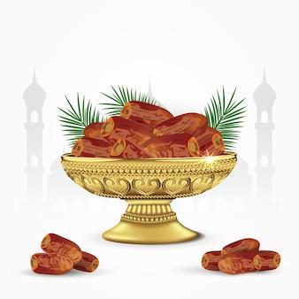 Vintage schüssel datteln mit palmblättern isoliert. ramadan iftar essen. illustration