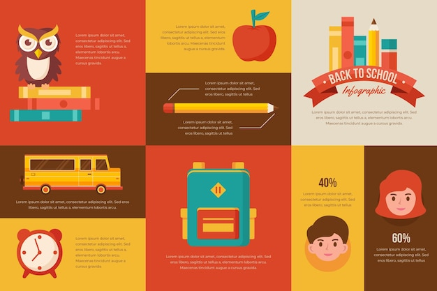 Vintage schule infografiken sammlung