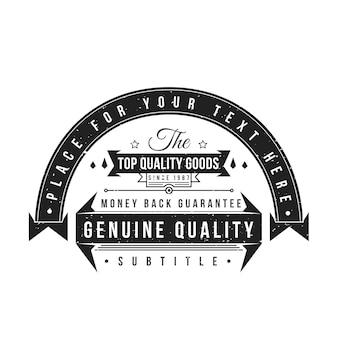 Vintage schwarz monochrome etikett grunge textur dekoration retro bänder banner auf weißem hintergrund