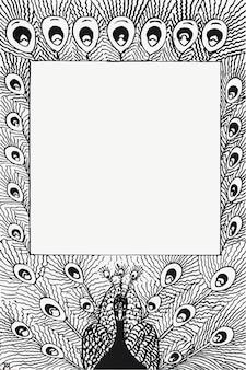 Vintage schwarz-weiß-pfauenfeder-rahmenvektor, remix aus kunstwerken von theo van hoytema