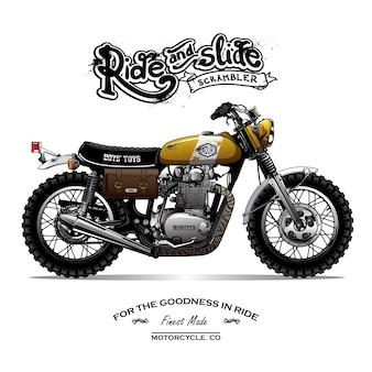 Vintage scrambler motorrad poster