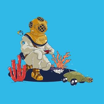 Vintage scuba diver, das schildkrötenillustration mit fernbedienung spielt