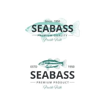 Vintage seebarsch fisch logo vorlage für restaurant