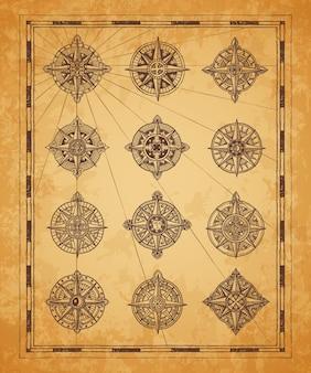 Vintage seekarte kompassrosen. längen- und breitengrad alter kartenrahmen. mittelalterliche kartographie, seeschifffahrt und schatzsuche abenteuervektor windrose, kompasssymbol mit ornamenten