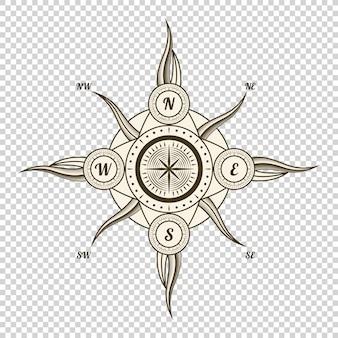 Vintage seekompass. altes gestaltungselement für meeresthema und heraldik auf transparentem hintergrund. hand gezeichneter wind stieg auf
