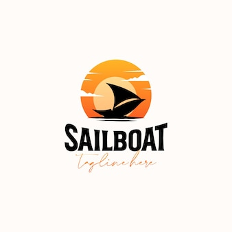 Vintage segelboot sonnenuntergang hipster logo vorlage