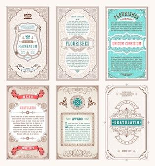 Vintage set retro karten und rahmen