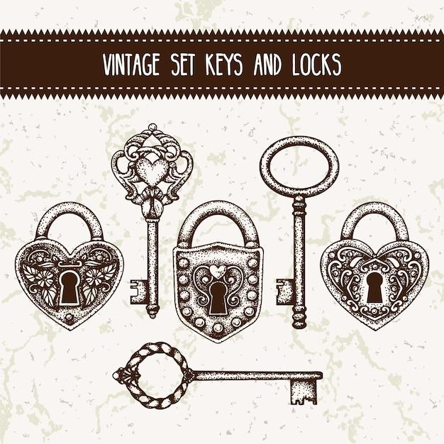 Vintage-set schlüssel und schlösser