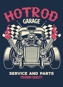 Vintage-shirt-design von hotrod custom car