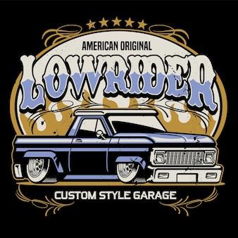 Vintage-shirt-design von lowrider-pickup-truck