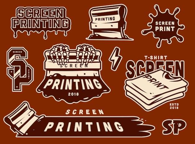 Vintage siebdruckabzeichen gesetzt