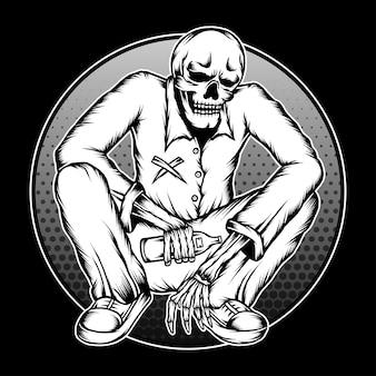 Vintage skelett betrunkene illustration. premium-vektor