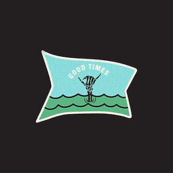 Vintage-skelett-handlogo, shaka-druckdesign für t-shirt. good times lustiges typografie-zitat-konzept. ungewöhnliches handgezeichnetes surf-ozean-grafik-patch-emblem. lager vektor.