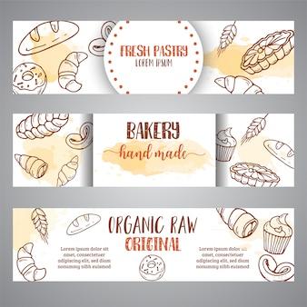 Vintage skizze bäckerei banner
