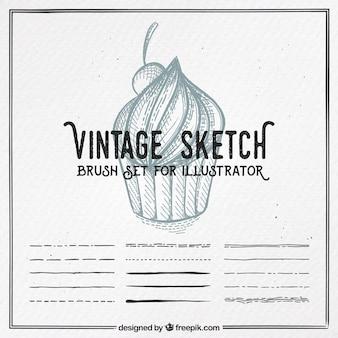 Vintage-skizze, pinsel-set für illustrator
