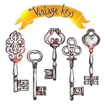 Vintage skizzenschlüssel