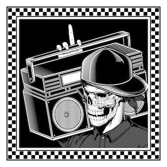 Vintage skull rapper trägt eine boombox handzeichnung