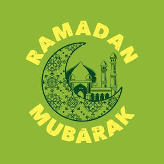 Vintage slogan typografie ramadan mubarak für t-shirt design