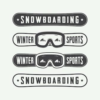 Vintage snowboard-logos, abzeichen, embleme und designelemente. vektor-illustration
