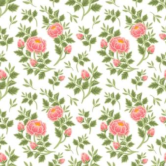 Vintage sommer floral nahtlose muster aus pfirsich pfingstrose bouquet, blütenknospen und blattzweig arrangements