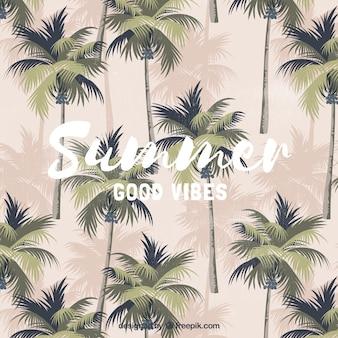 Vintage sommer hintergrund mit palmen