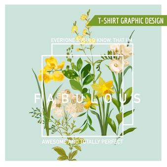 Vintage sommer- und frühlingsblumen grafikdesign für t-shirt, mode, drucke
