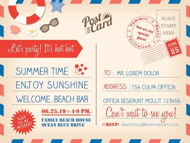 Vintage sommer urlaub postkarte hintergrund