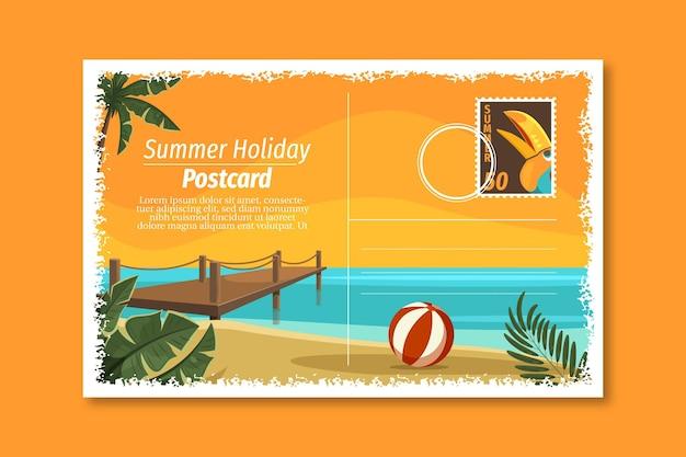 Vintage sommerurlaub postkartenvorlage