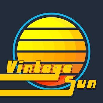 Vintage sonne mit gelb-orangeen streifen