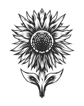 Vintage sonnenblume im monochromen stil