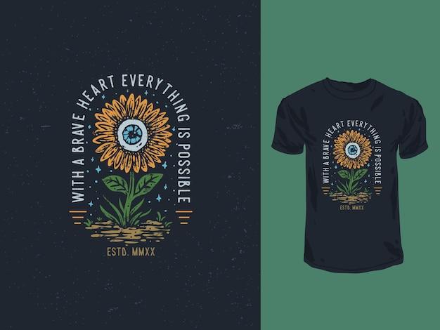 Vintage sonnenblume und alle sehenden augen illustration