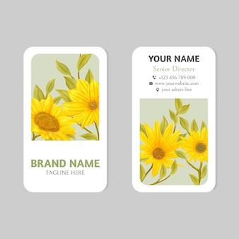 Vintage sonnenblumen-visitenkartenvorlage