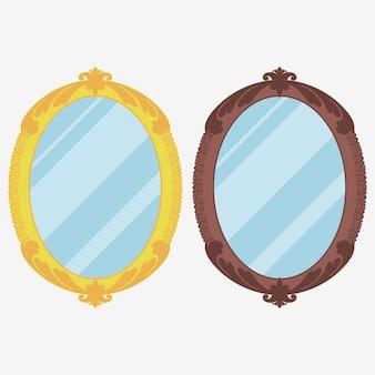 Vintage-spiegel. retro verzierter spiegel. vektor-illustration.