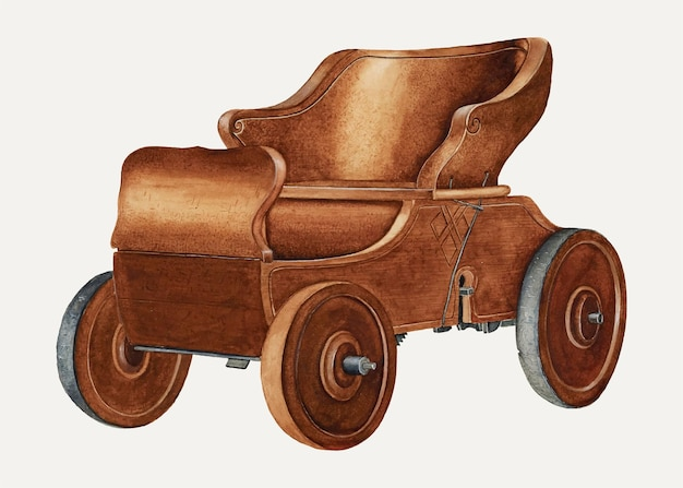 Vintage-spielzeug-automobil-illustrationsvektor, remixed aus dem artwork von wilbur m rice