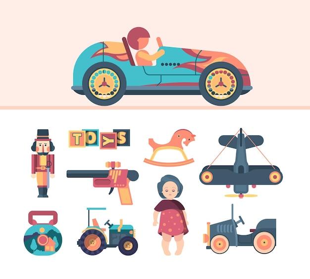 Vintage spielzeug für kinder illustration set