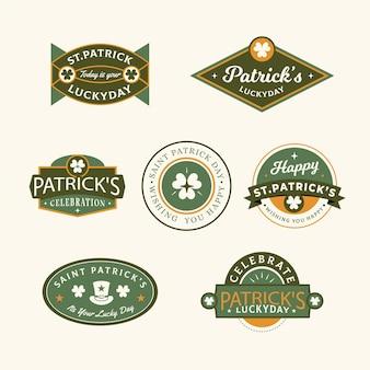 Vintage st. patrick's day label / abzeichen gesetzt