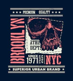 Vintage städtische typografie mit schädel, t-shirt-grafiken, kompositionsillustration