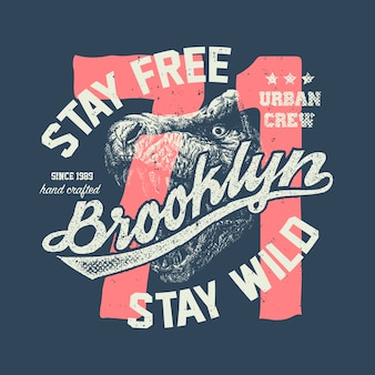 Vintage städtische typografie mit tyrannosaurus-kopf, t-shirt-grafiken, kompositionsillustration
